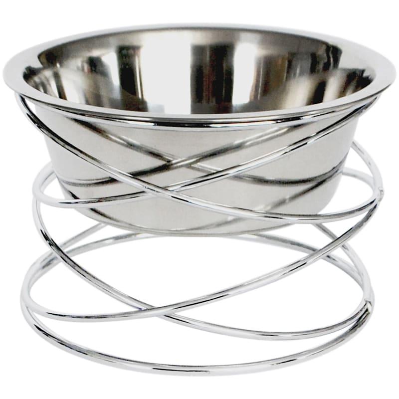 Barkley/Evans Abstraction Chrome Wire 1 Quart Pet Bowl