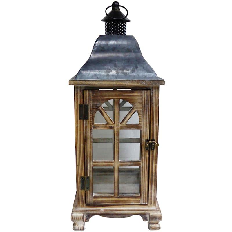 20.5in. Small Wood/Metal Lantern
