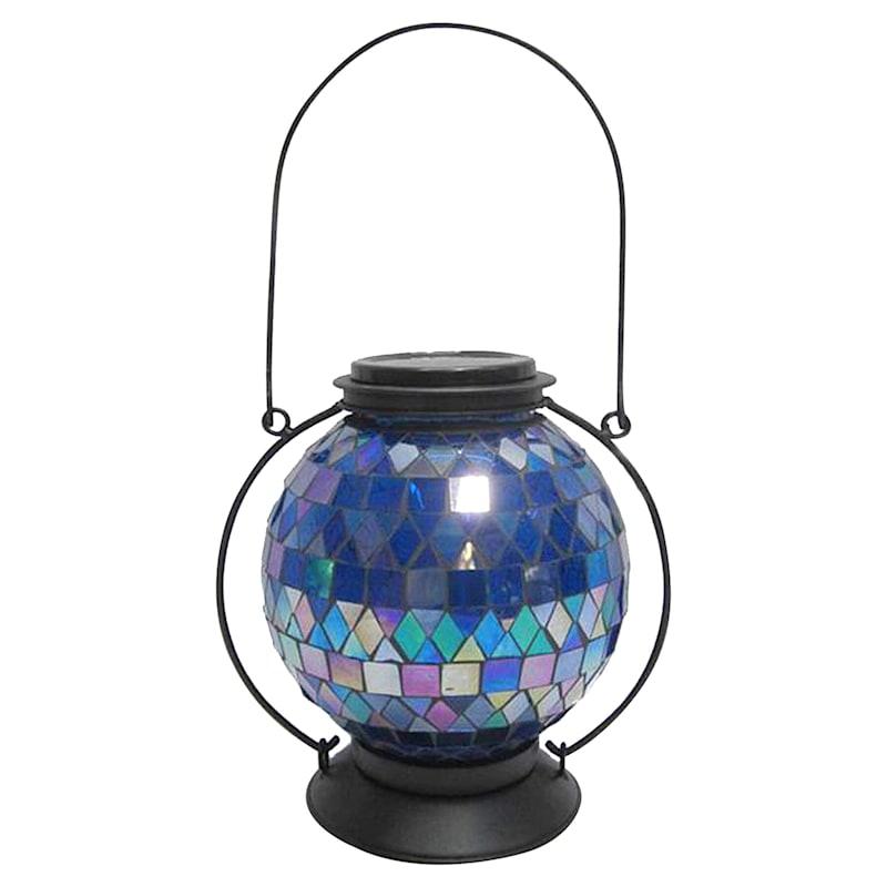 Metal Mosaic Tile Glass Lantern Square/Diamond Pattern/Solar Panel