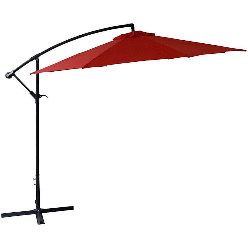 Steel Red Round Offset Outdoor Umbrella, 10'