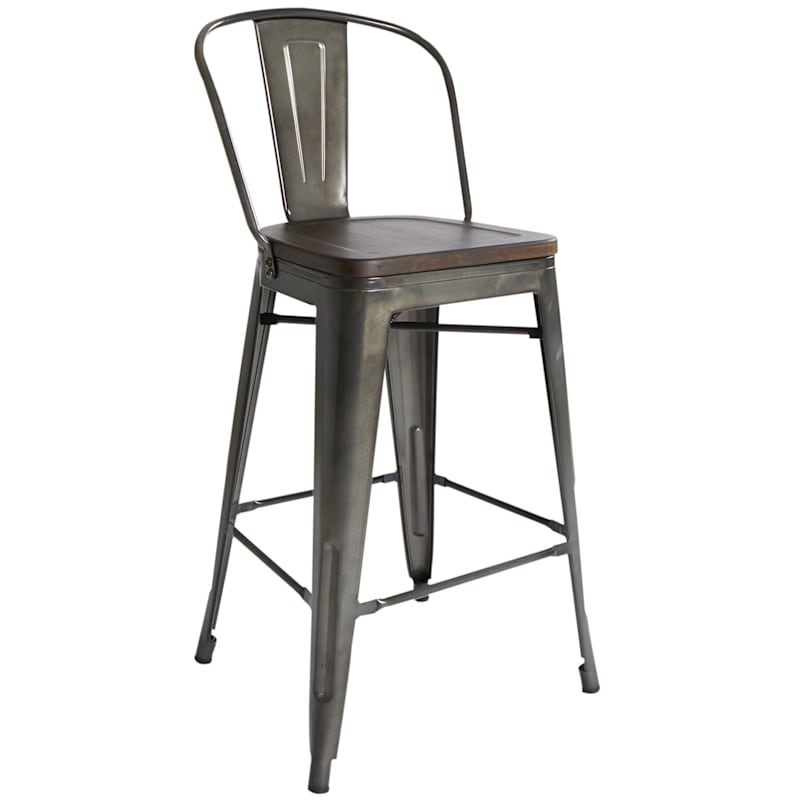 Dublin Metal & Wood Counter Stool with Back