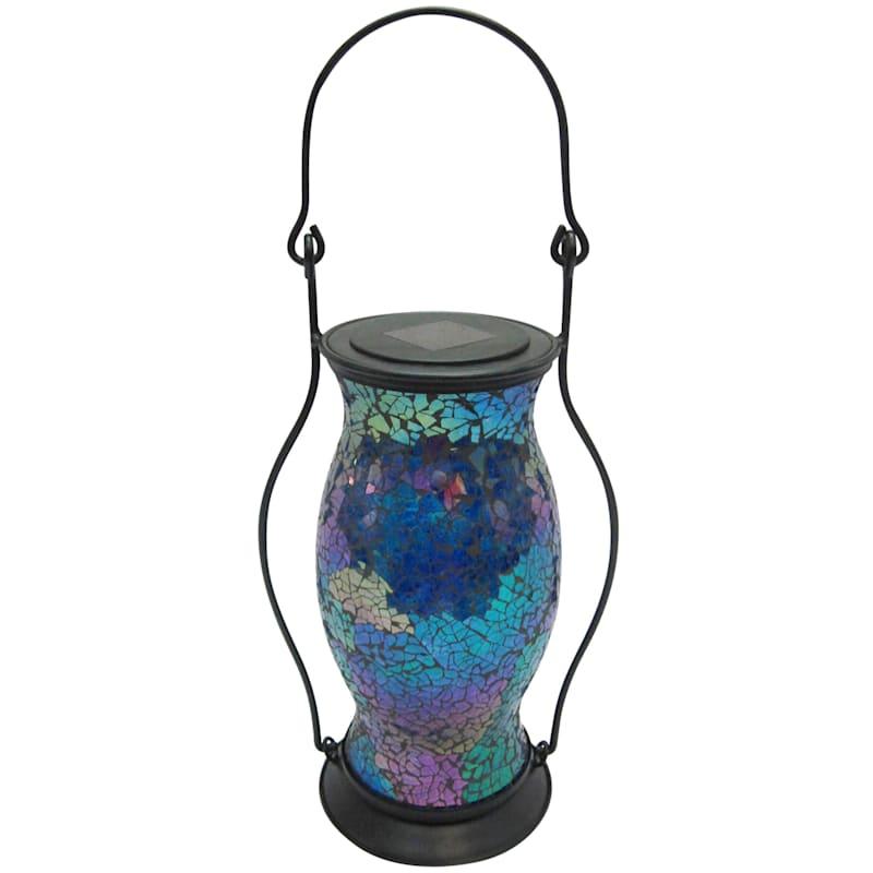 Mosaic Shatter Glass Hurricane Shape Solar Lantern/Handle