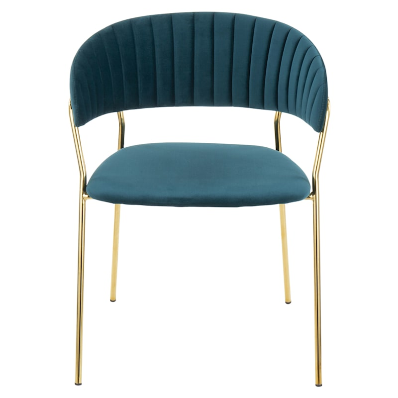 Tania Teal Velvet Glam Gold Chair