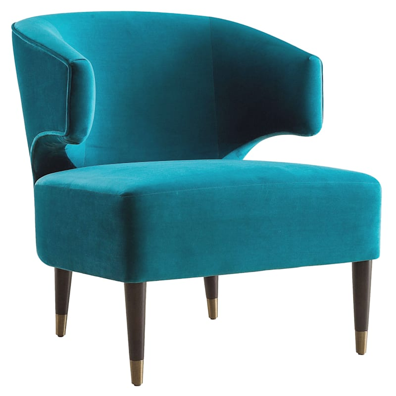 Aura Green Velvet Wrapped Around Arm Chair with Capped Legs