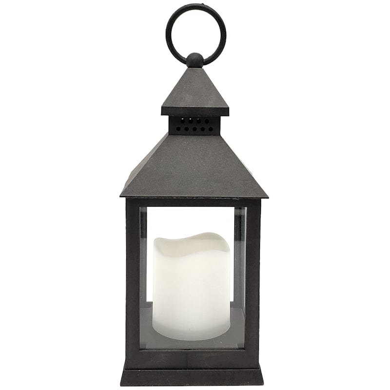 10in. LED Weather Proof Black Lantern/Led Candle