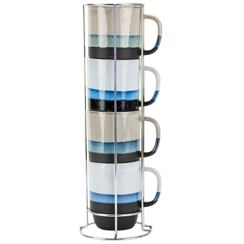 14oz Stacked Mug Set Of Four Metal Rack Striped Color Bands