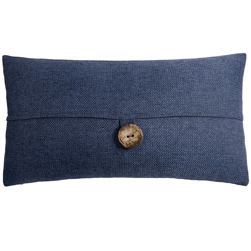 Clayton Navy Feather Filled Coconut Button Pillow 13X24