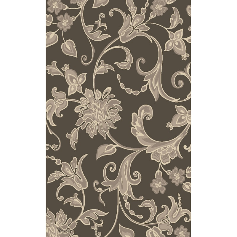 (D408) Traditional Floral Design Area Rug Dark Grey 3X4