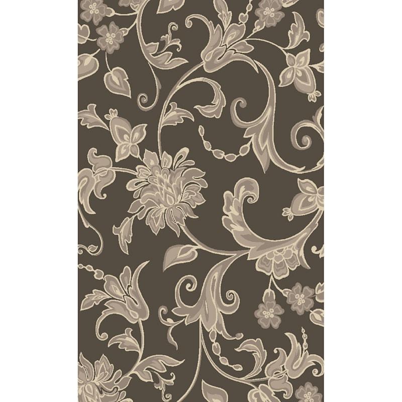(D408) Traditional Floral Design Area Rug Dark Grey, 5x7