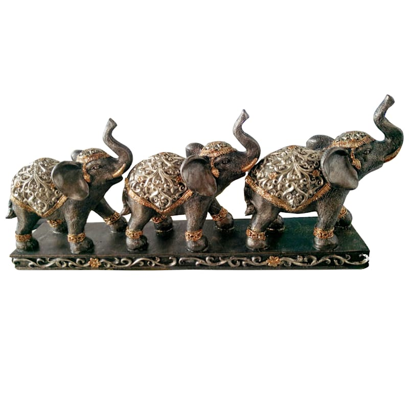 16.5X7 Brown Resin Three Elephants With Stand