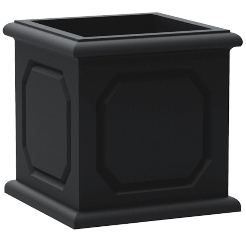 16.9X16.9 All Weather Proof Polyresin Versailles Cube Planter Lead