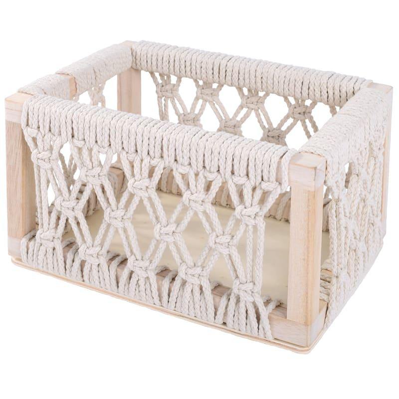 BoHo White Cotton Crochet Bin S