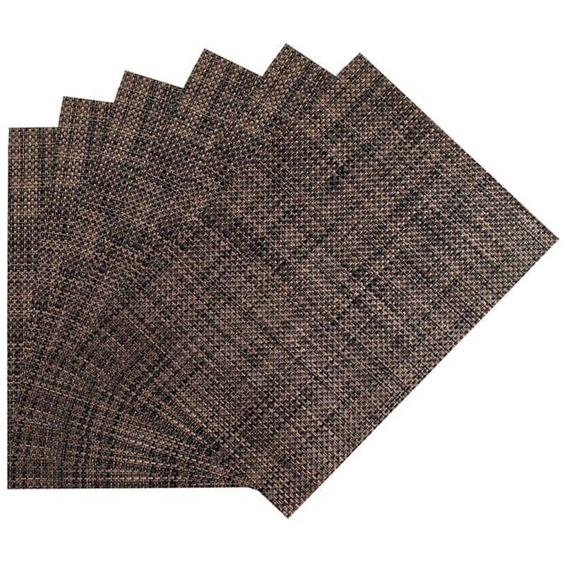 Set Of 6 Longport Woven Vinyl Placemat Tobacco