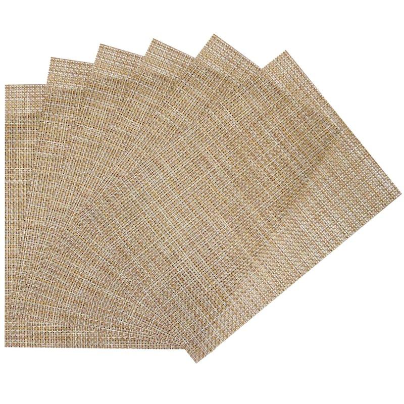 Set Of 6 Longport Woven Vinyl Placemat Almond