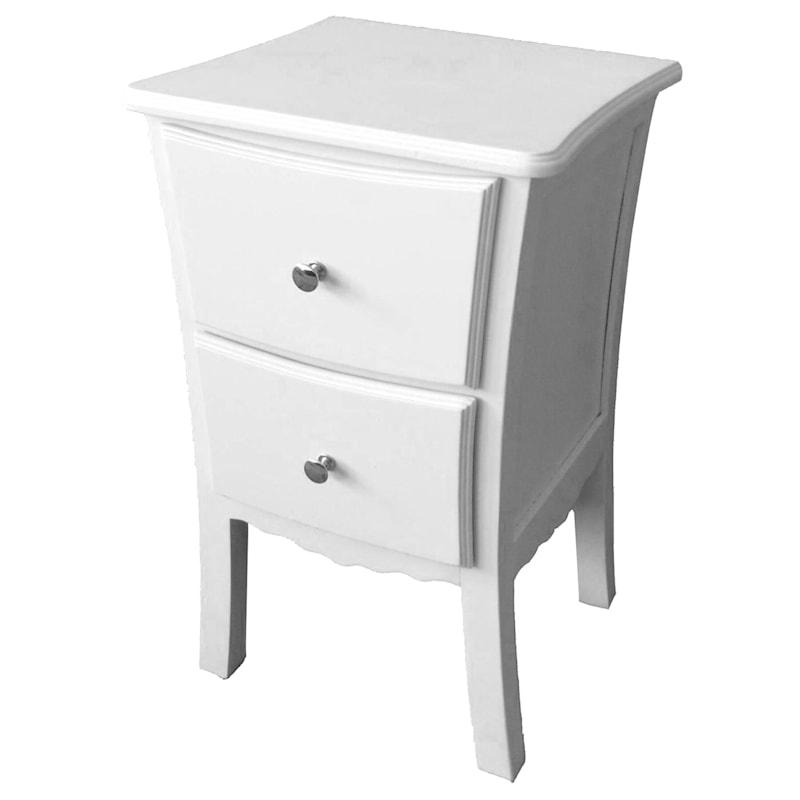White 2 Drawer Wood Cabinet