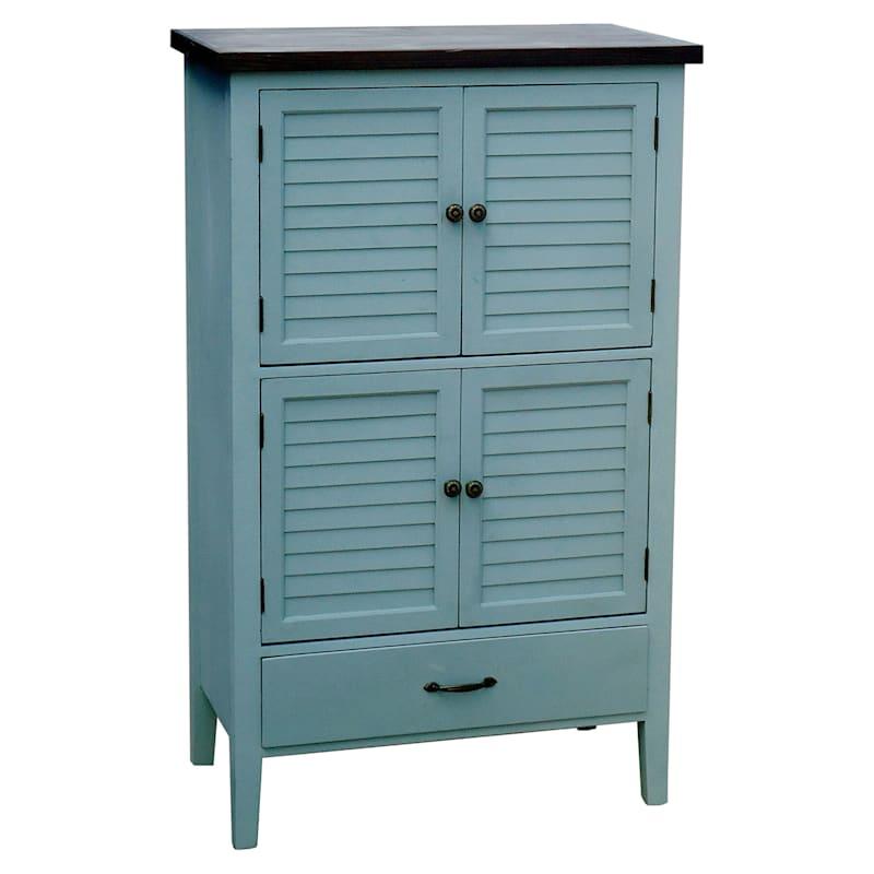 Grey 1 Drawer 4 Door Wood Shutter Cabinet