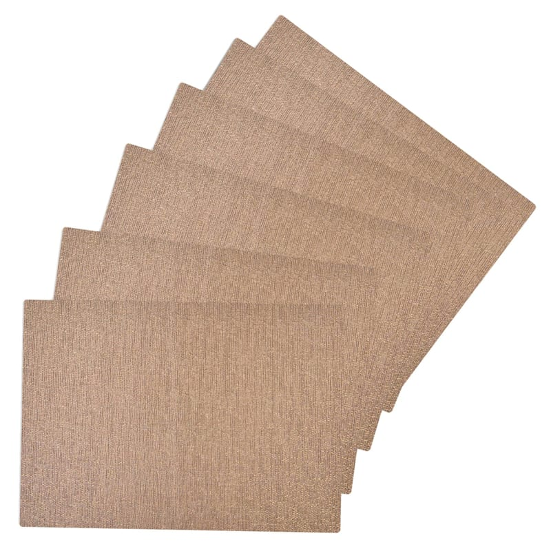 Set Of 6 Glamour Woven Vinyl Placemat Gold