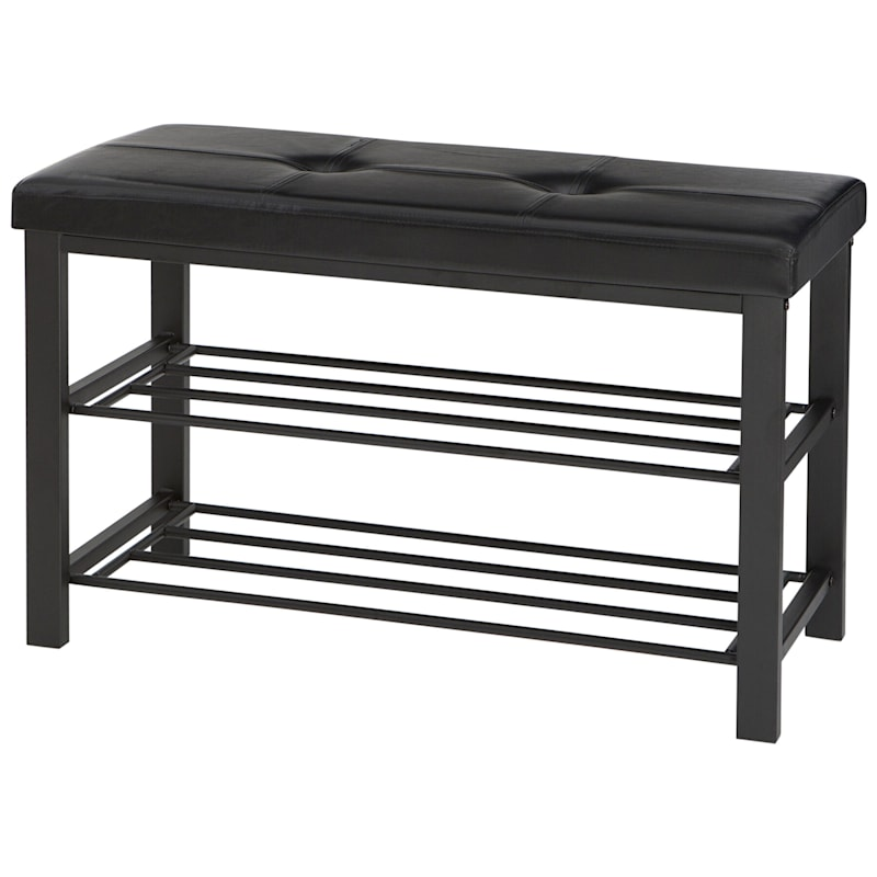 Metal Frame Bench/Shoe Rack At The Bottom Black Leather Look Top