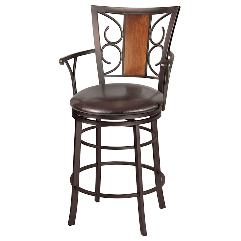 """Rebecca Brown Metal Swivel Counter Stool with Faux Leather Upholstered Seat, 24"""""""