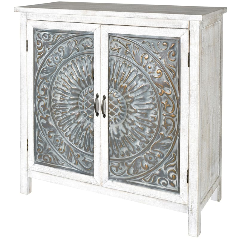 White 2 Door Embossed Wood And Metal Cabinet