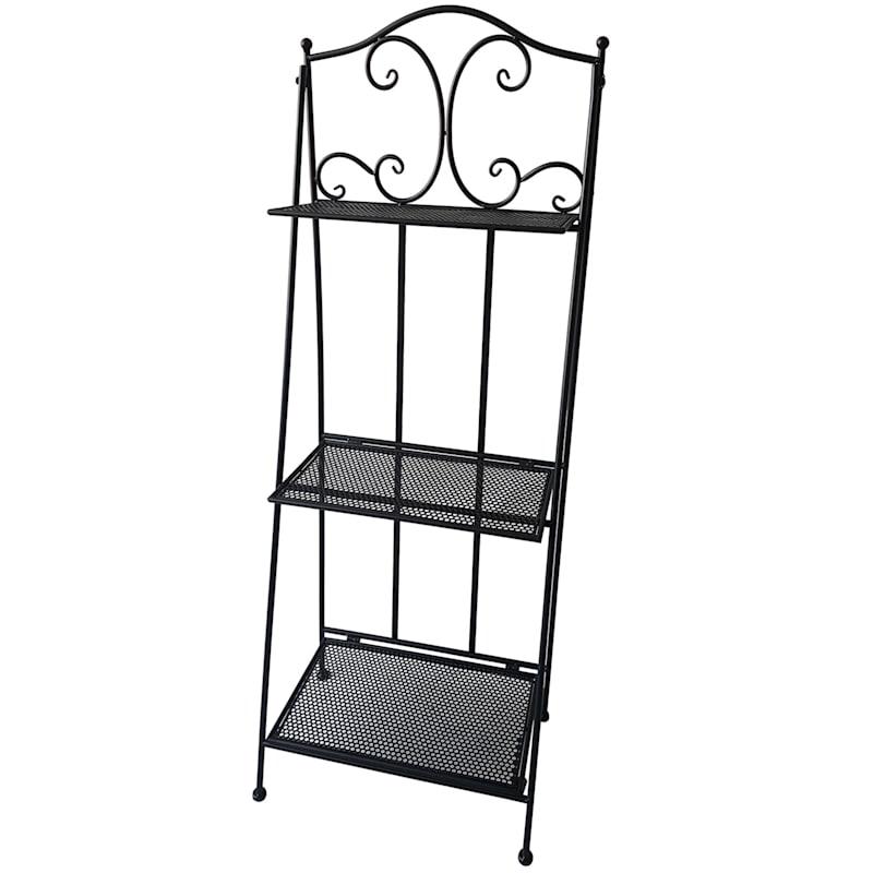 Black 3 Tier Scroll Metal Baker Rack With Folding Metal Pattern Shelves