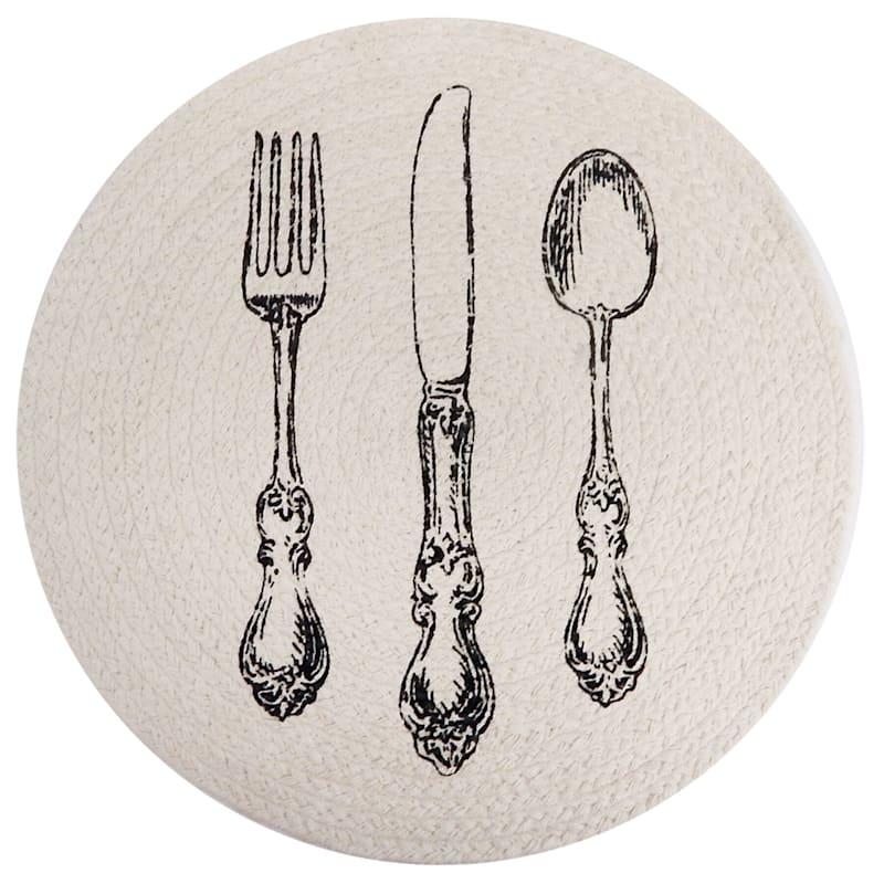Utensils Pattern Braided Cotton Placemat