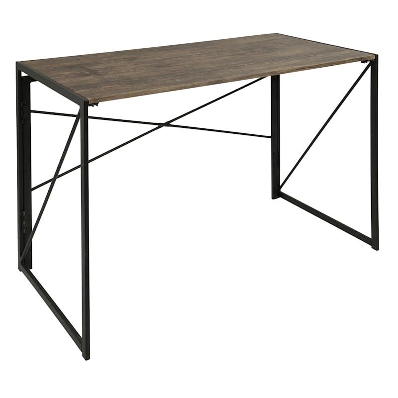 Dakota Black & Brown Industrial Modern Office Desk