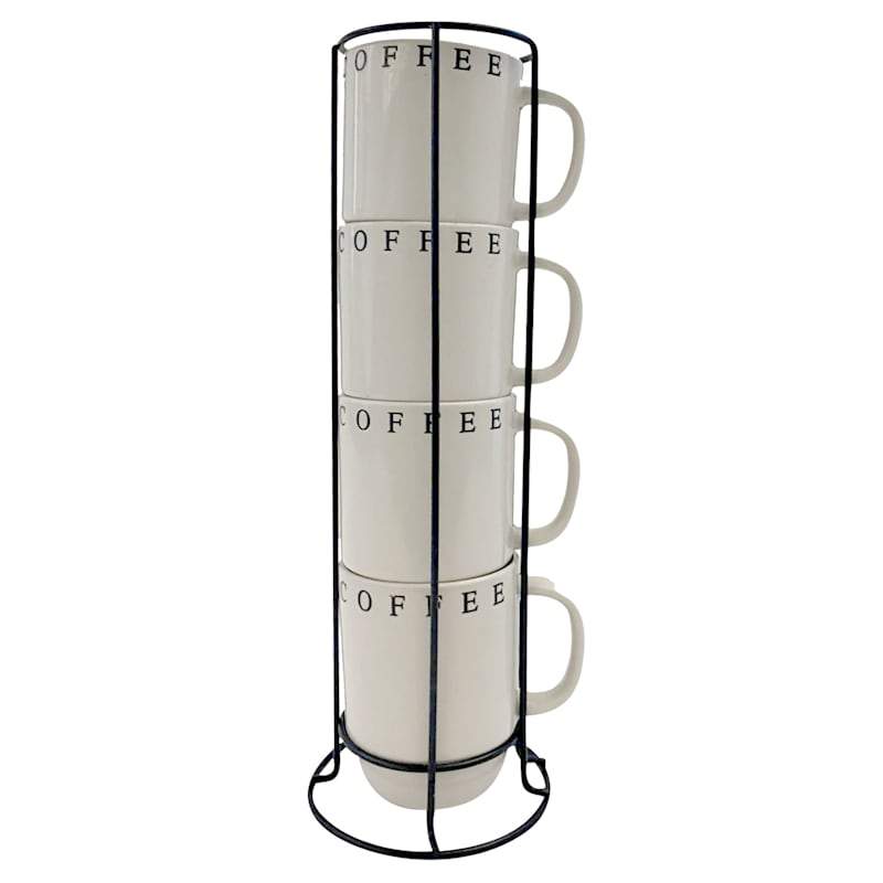 14oz Stacked Tan Set Of Four Mugs/Coffee On Rim Nested Metal Rack