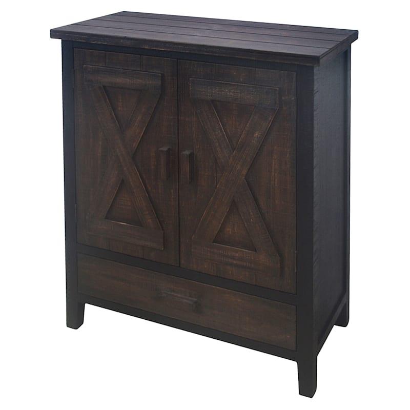 Black 2 Door 1 Drawer Wood Cabinet