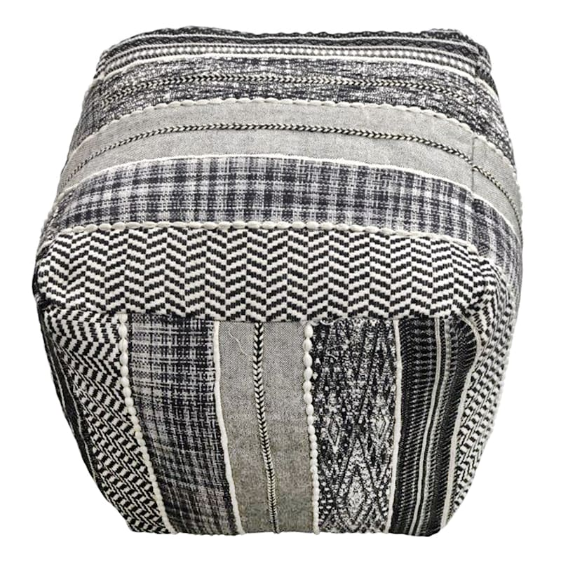 Ray Handwoven Striped Square Pouf