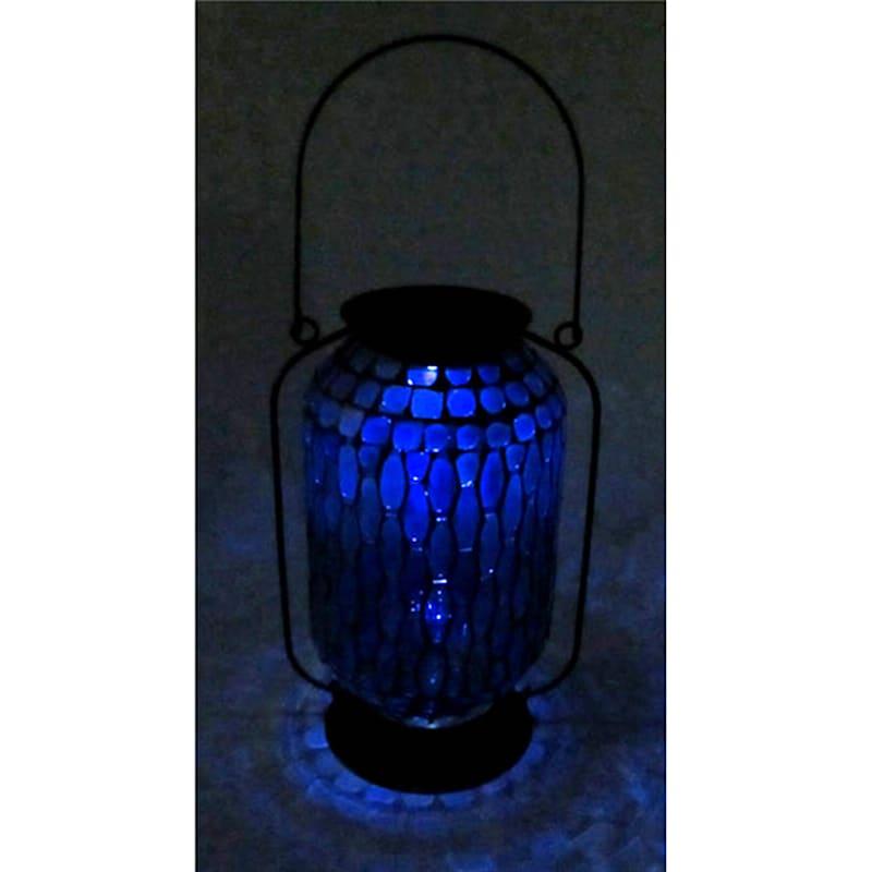 Metal Mosaic Glass Tall Round Lantern/Hexagonal Shape Tile Glass Pattern