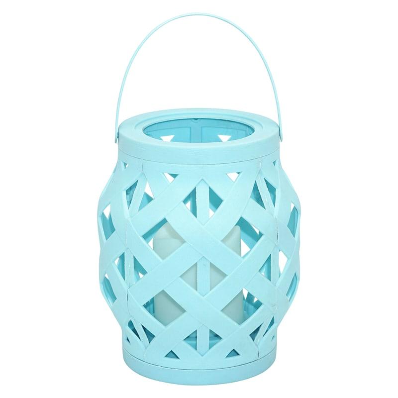 6X6 Plastic Rattan Lantern W/Led Candle Timer Function Weatherproof Light Blue
