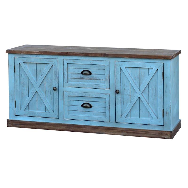 Blue 2 Drawer 2 Door Cabinet