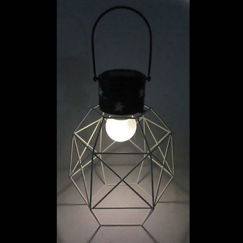 Metal Hanging Lantern W/Geometric Triangle Design Shade/Frosted Glass Ball