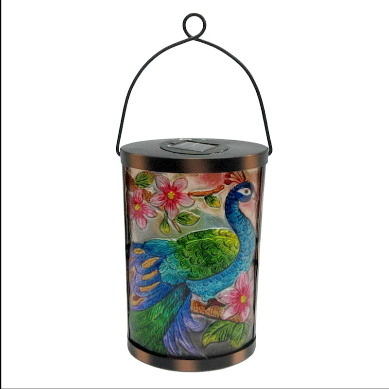 Metal Fused Glass Oval Lantern/Peacock/Flowers Patterned Glass