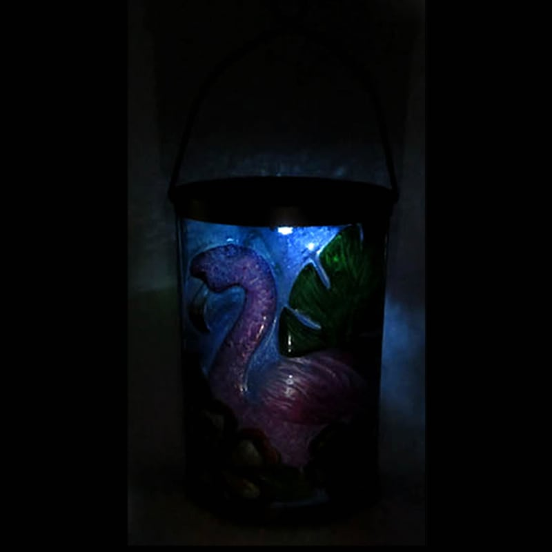 Metal Fused Glass Oval Lantern/Flamingo/Flowers Patterned Glass
