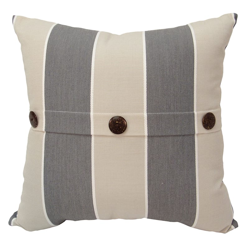 Suncabana Stripe Outdoor Premium 18in. Square Button Pillow
