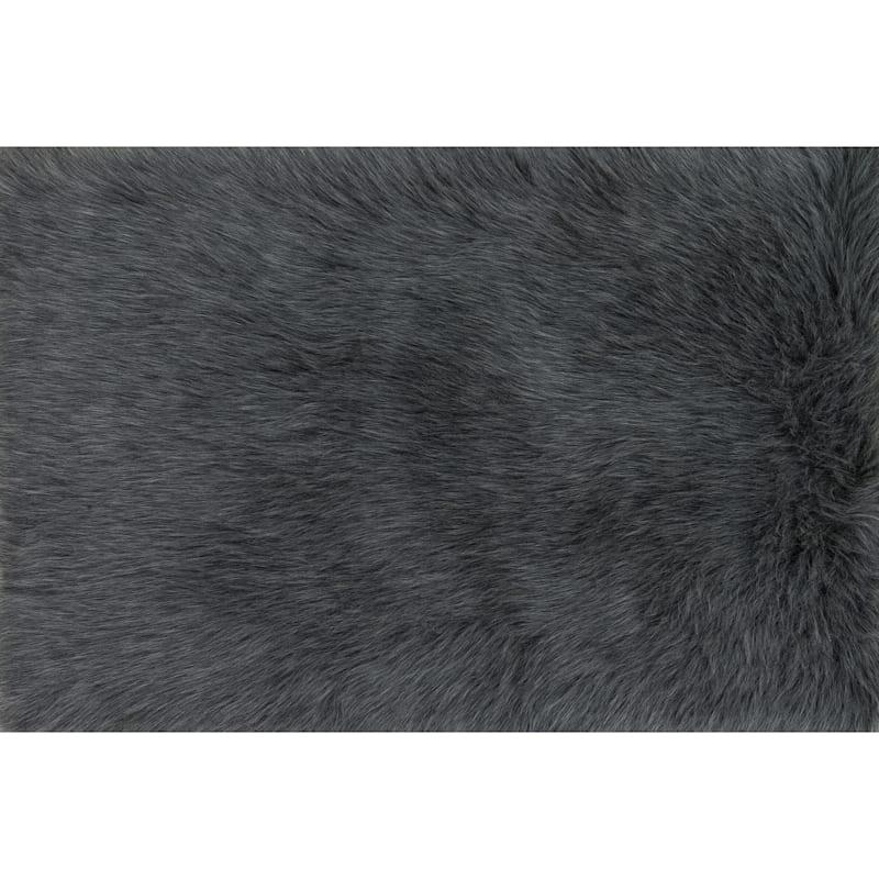 Aspen Graphite Faux Fur Area Rug, 5x8