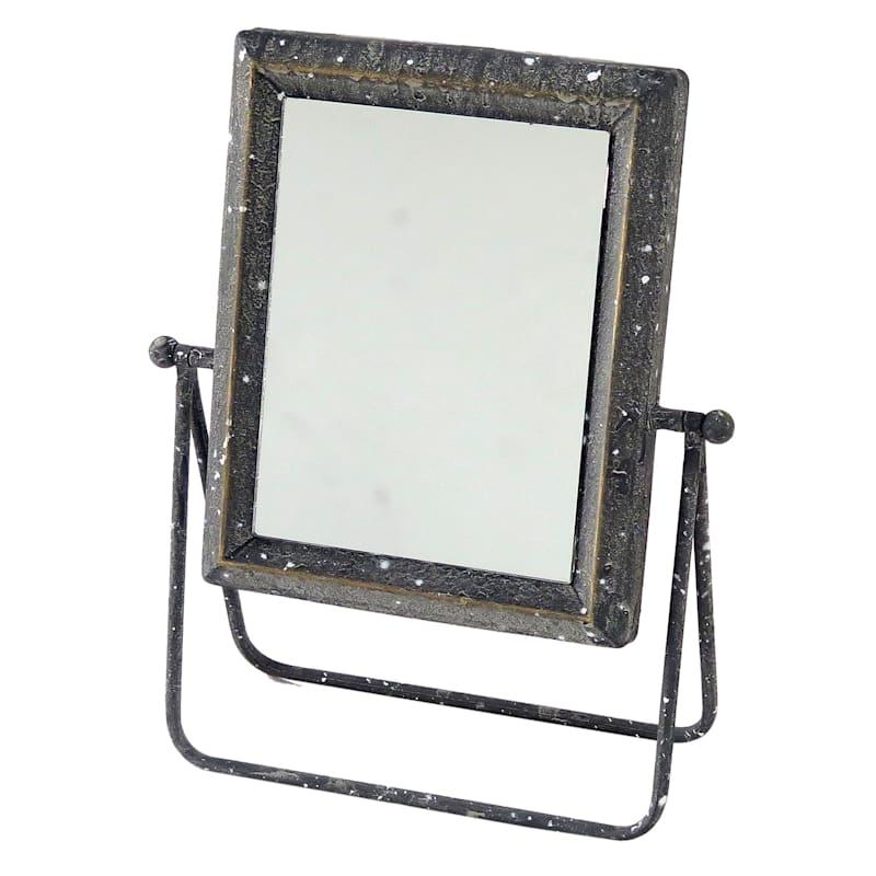 Grey Metal Tabletop Mirror 11X12