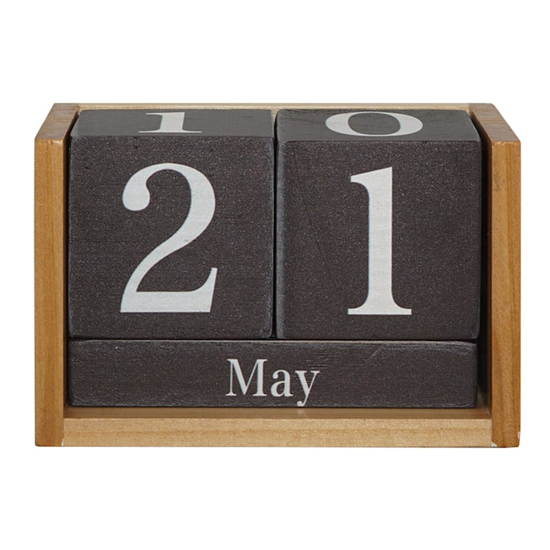 5.5In Brown And White Wood Calendar