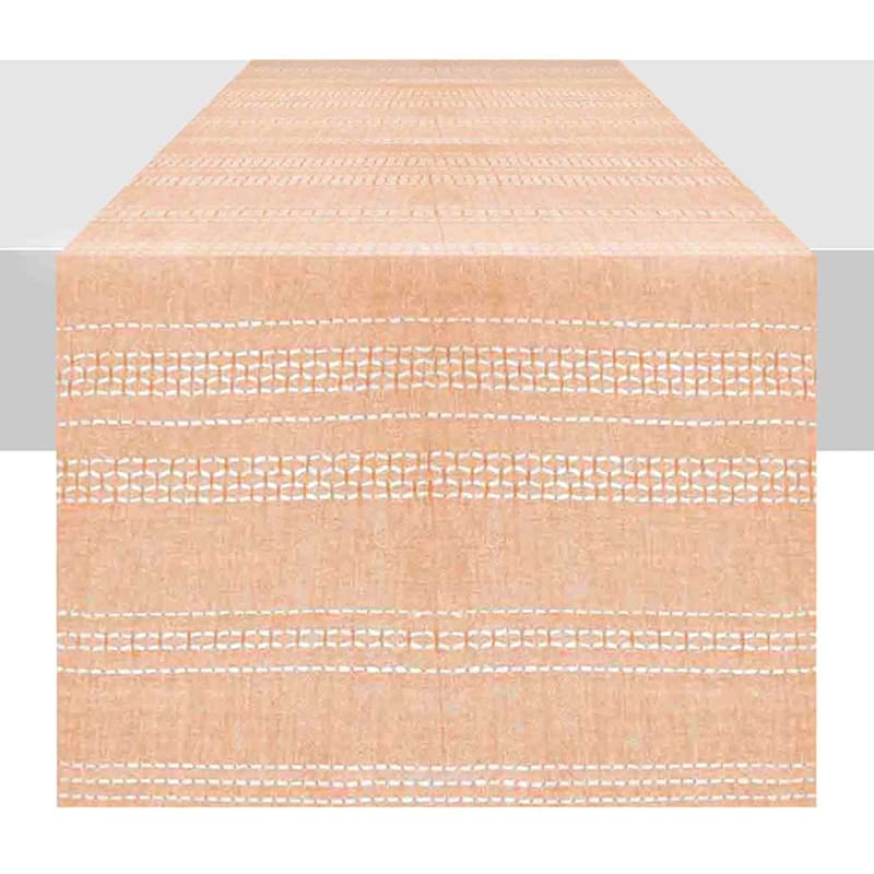 Chambray Stripe Peach Cotton Runner