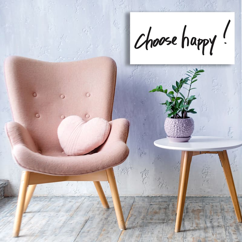 30X15 Choose Happy Glass Coat Canvas Art