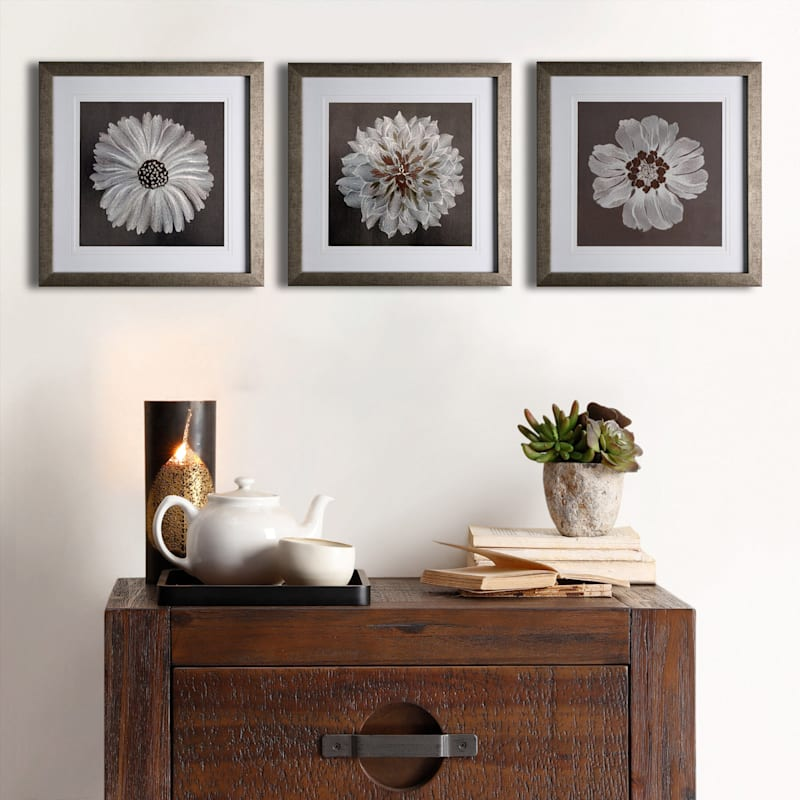 20X20 Floral Embroidered Framed/Glass Art