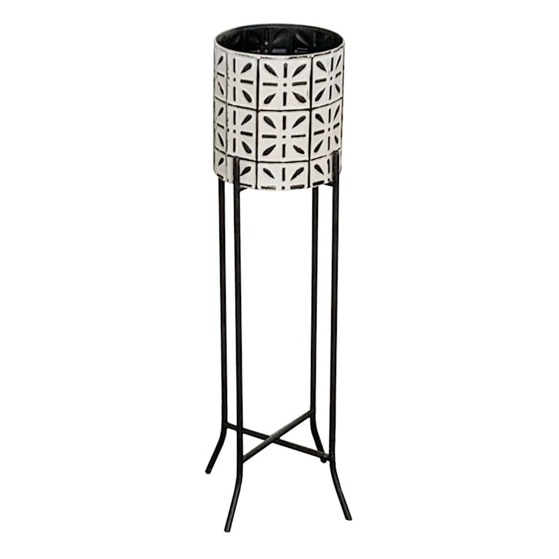 """Tile Patterned Metal Plant Stand, 30"""""""