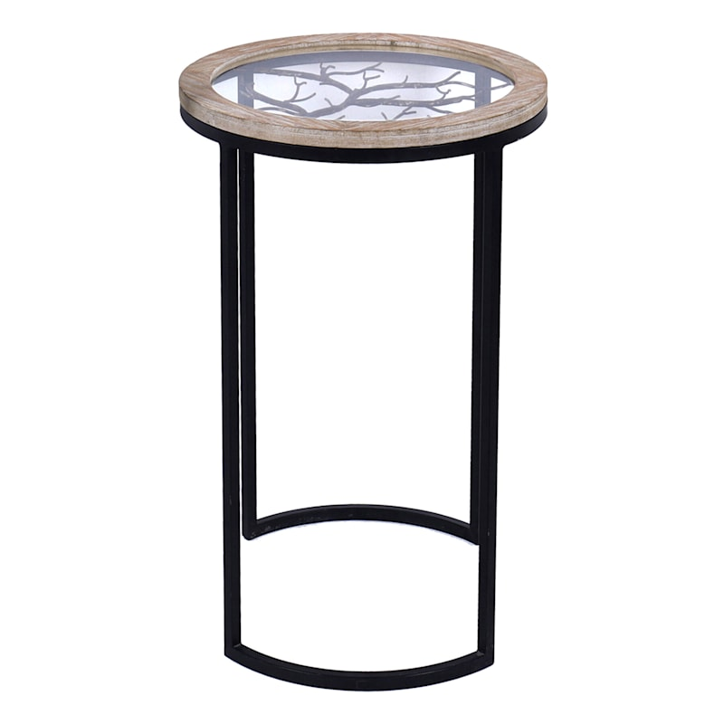 Wood With Glass Top Accent Table With Tree Design Metal Base, Small