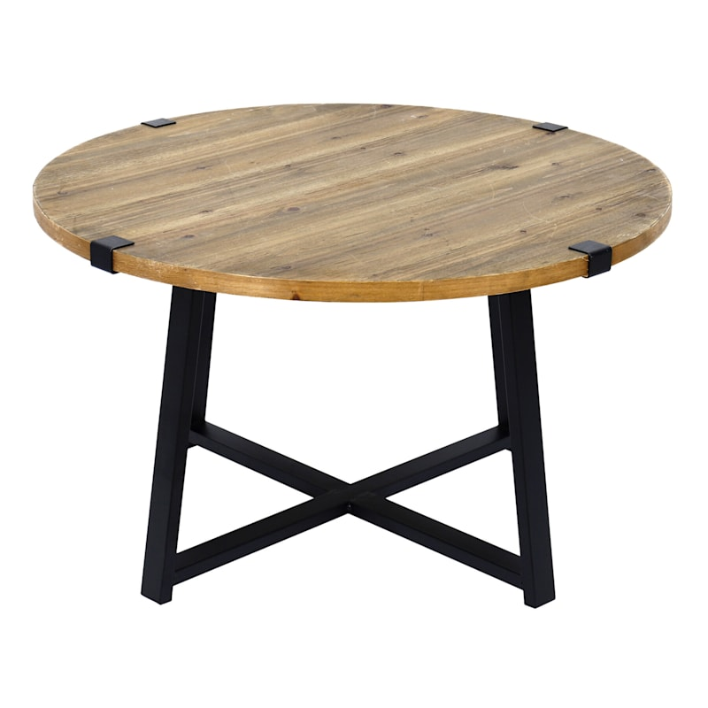 Round Wood Top Coffee Table With Metal X Base