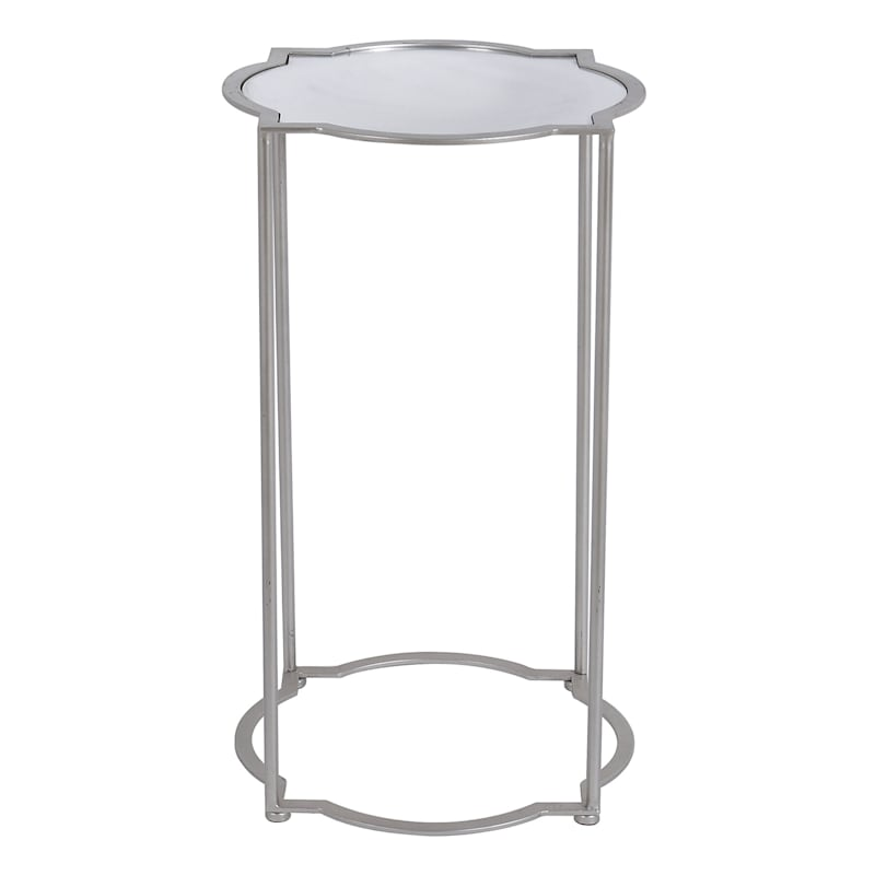 Mirror Top Quatrefoil Accent Table With Metal Base, Large