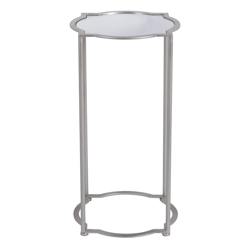 Mirror Top Quatrefoil Accent Table With Metal Base, Small