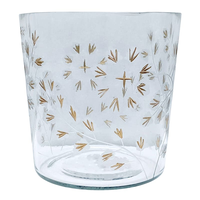 """Grace Mitchell Glass Gold Etched Clear Hurricane, 6"""""""