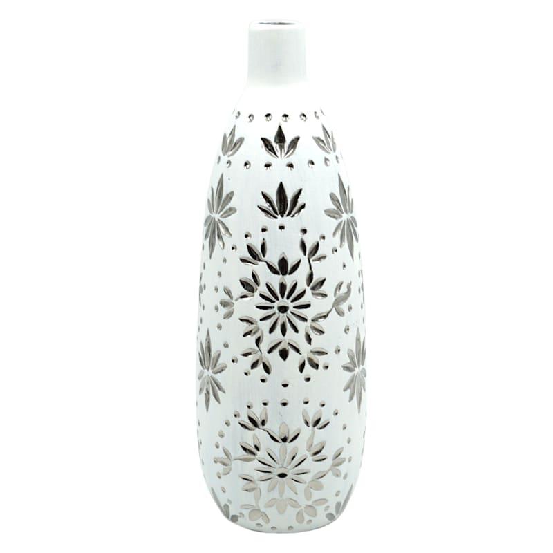 5X14 Silver Floral White Ceramic Vase